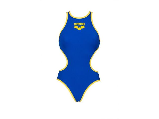 arena One Biglogo One Piece Swimsuit Dames, neon blue/yellow star